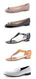 Women's shoes on white. Stylish women's shoes on white background Royalty Free Stock Photos