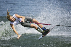 Women's Shortboard Action - Clementine Lucine. Image of the current world record holder Clementine Lucine of France competing in the Women's Shortboard (Tricks) Royalty Free Stock Image