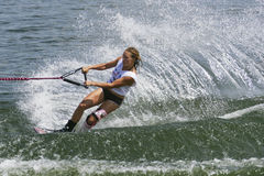 Women's Shortboard Action - Natalia Berdnikova. Image of Natalia Berdnikova of Belarus competing in the Women's Shortboard (Tricks) Finals event at the 2009 Royalty Free Stock Images