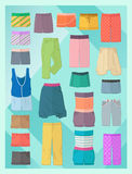 Women's shorts in flat design Stock Photo