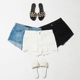 Women`s shorts and sandals collection Royalty Free Stock Photo