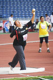 Women's Shot Putt for Disabled Persons. Image of the women's shot putt event at the 5th Asean Para Games 2009, held at the National Stadium, Bukit Jalil, Kuala Royalty Free Stock Photos