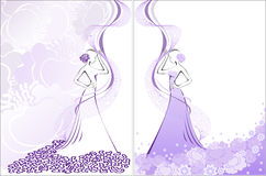 Women's silhouette on purple. Silhouette of two women in purple floral whirlwind Royalty Free Stock Photography