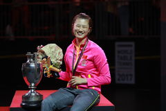 Women`s Singles Awards Ding Ning World Champion. Women`s Singles Awards world table tennis championships in Dusseldorf. 29 May 6 june 2017 stock photography