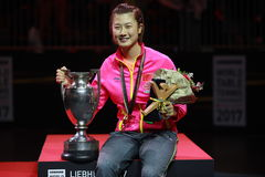 Women`s Singles Awards Ding Ning World Champion. Women`s Singles Awards world table tennis championships in Dusseldorf. 29 May 6 june 2017 royalty free stock photos