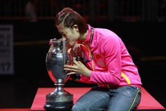 Women`s Singles Awards Ding Ning World Champion. Women`s Singles Awards world table tennis championships in Dusseldorf. 29 May 6 june 2017 royalty free stock image