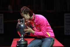 Women`s Singles Awards Ding Ning World Champion. Women`s Singles Awards world table tennis championships in Dusseldorf. 29 May 6 june 2017 stock image