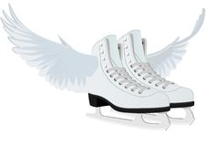 Women's skates for figure skating with wings. Abstract image of female skates for figure skating, with wings Stock Photography