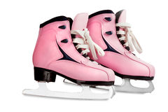Women's skates pink  isolated. Women's skates pink color image isolated on a white background Royalty Free Stock Photography