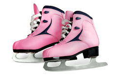 Women's skates pink  isolated. Women's skates pink color image isolated on a white background Stock Photo