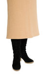 Women's skirt and black suede boots Stock Image