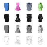 Women`s skirt, short dress, clothing vest, warm robe. Women`s clothing set collection icons in cartoon black monochrome Royalty Free Stock Photo