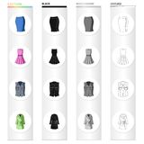 Women`s skirt, short dress, clothing vest, warm robe. Women`s clothing set collection icons in cartoon black monochrome Stock Images