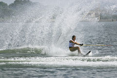 Women's Slalom Action - Anais Amade. Image of Anais Amade of France competing in the Women's Slalom Finals event at the 2009 Putrajaya Waterski World Cup, held Stock Image
