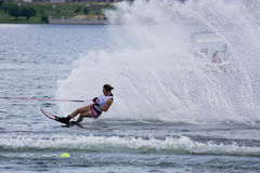 Women's Slalom Action - Karen Truelove. Image of Karen Truelove of USA competing in the Women's Slalom Finals event at the 2009 Putrajaya Waterski World Cup Royalty Free Stock Photography