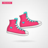 Women`s sneakers. Vector hand drawn illustration. Pair of pink, blue and white women`s sneakers. Hand drawn shoes icon. Vector illustration vector illustration