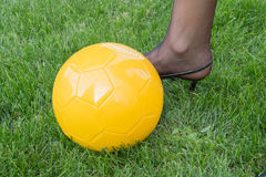 Women's Soccer. The football is also woman in brazil Stock Photo
