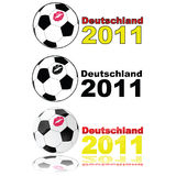 Women's soccer Germany 2011. Variations on illustration showing a soccer ball with a lipstick mark on it, and the words 'Deutschland 2011' to represent the women Royalty Free Stock Images