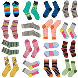 Women`s socks. Vector Cute Pattern With A Variety Of SocksPackaging design, textile design. White background Royalty Free Stock Images