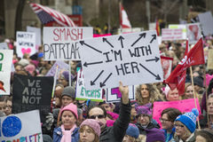 Women`s Solidarity March in Toronto, Canada- January 21, 2016 Stock Photo