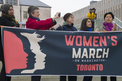 Women`s Solidarity March in Toronto, Canada- January 21, 2016 Royalty Free Stock Photos