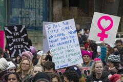 Women`s Solidarity March in Toronto, Canada- January 21, 2016 Royalty Free Stock Images