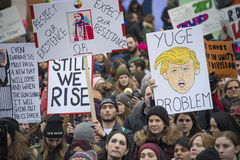 Women`s Solidarity March in Toronto, Canada- January 21, 2016 Stock Photos
