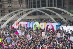 Women`s Solidarity March in Toronto, Canada- January 21, 2016 Royalty Free Stock Image