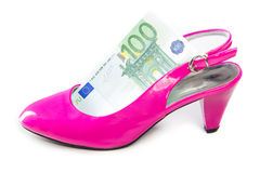 Women's spending on shoes and clothes Royalty Free Stock Image
