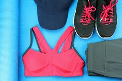 Women`s sport wear, Gym fashion and accessories, Exercise Equipment. Stock Photography