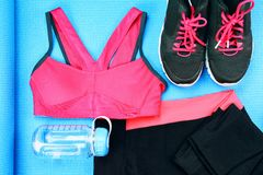 Women`s sport wear, Gym fashion and accessories, Exercise Equipment. Stock Photos