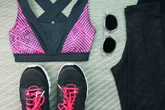 Women`s sport wear, Gym fashion and accessories, Exercise Equipment. Women`s sport wear, Gym fashion and accessories, Exercise Equipment, Healthy lifestyle Royalty Free Stock Image