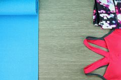 Women`s sport wear, Gym fashion and accessories. Royalty Free Stock Images