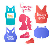 Women`s sports. Vector illustration. T-shirt top and sport bra. Lettering inspirational Women`s sports. Sports clothing female. Color silhouette  white Stock Image