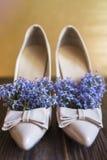 Women& x27; s-Stöckelschuhe und lila Blumeninnere als natürliches desodorierendes Mittel für Schuhe Stockfotografie