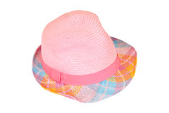Women's straw hat. With bow on white background royalty free stock image