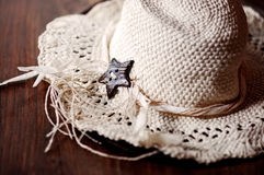Women's straw hat. With star ribbon Stock Photo