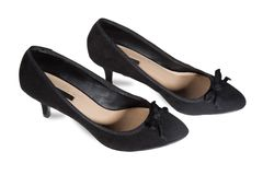Women's suede shoes of black Stock Images
