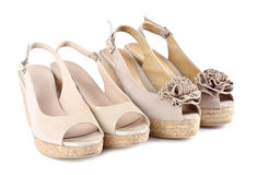 Women's Suede Wedge Sandals #8 Stock Photo