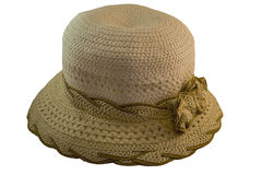 Women`s summer hat. Braided hat made of thick fiber with a bow Royalty Free Stock Photos