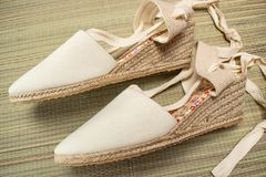 Women`s summer sandals pretty vintage style. stock image