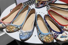 Women�s summer shoes on round shelf Stock Image