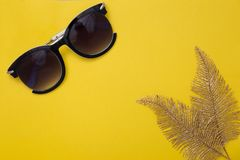 Women`s sunglasses and two gold leaves of a palm tree lie on a yellow background. stock photography