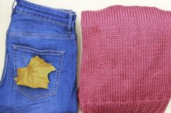 Women`s sweater and jeans closeup, top view. Flat lay women`s outfit in casual style. stock image