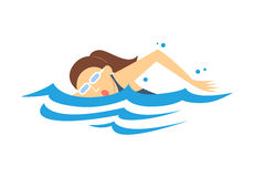 Women's Swimming, vector Stock Image