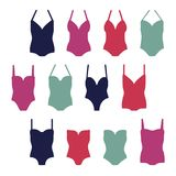 Women`s swimwear set. Set of women`s swimwear - vector illustration Stock Images