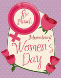 Women's Symbol and Roses in Greeting Message for Women's Day, Vector Illustration stock photos