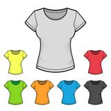 Women's T-shirt Design Template Color Set. Vector Royalty Free Stock Images