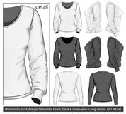Women's t-shirt design template.Long sleeve Royalty Free Stock Photos