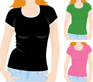 Women's t-shirt template Royalty Free Stock Images